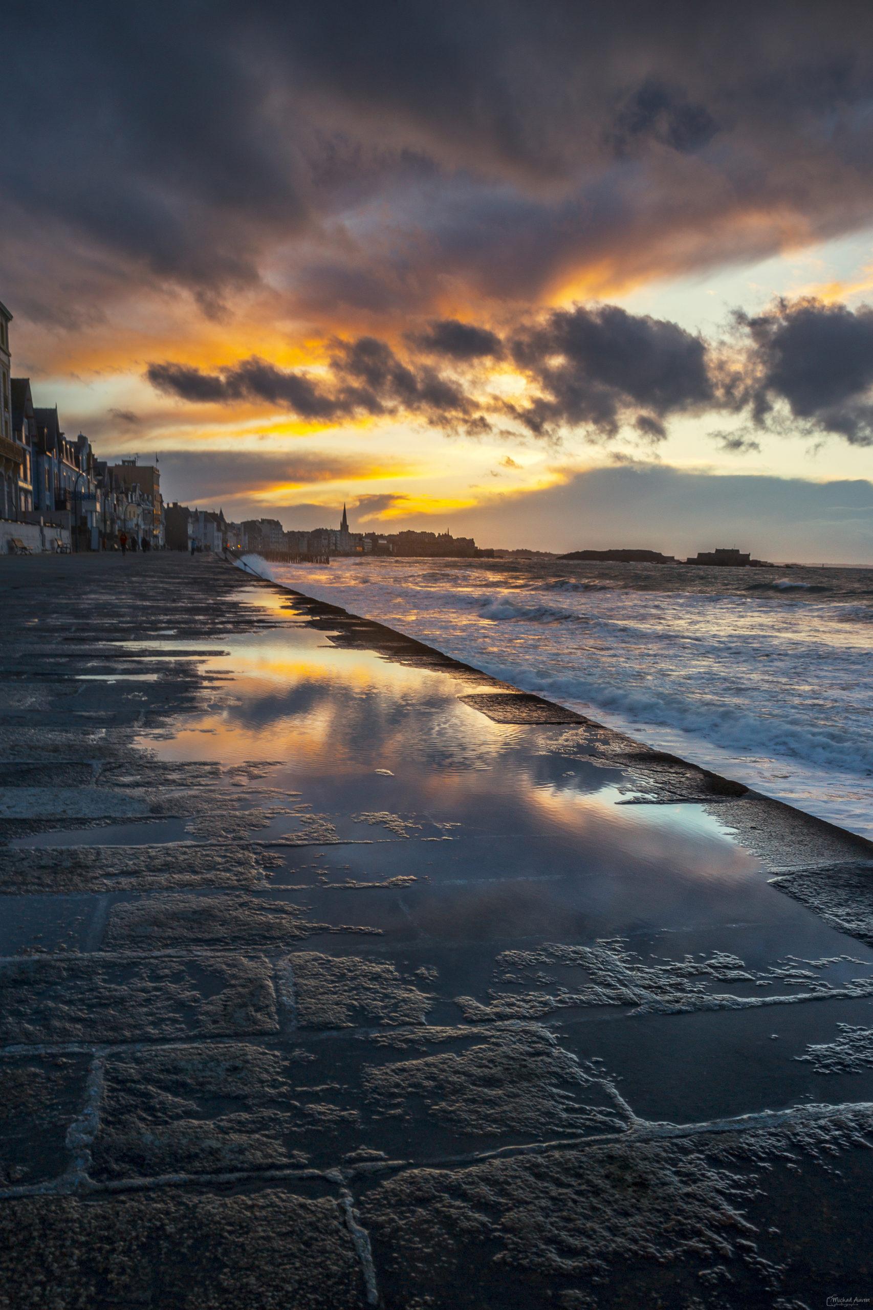 photographies reflet saint-malo couché-de-soleil sillon digue