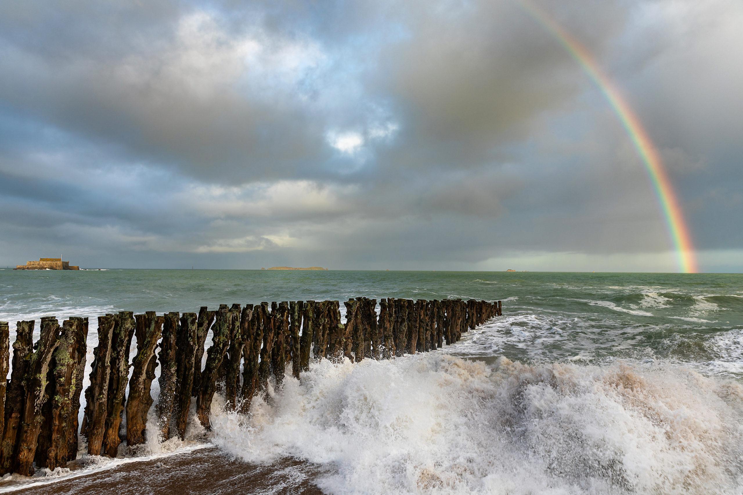 photographie tempête grande marée rainbow