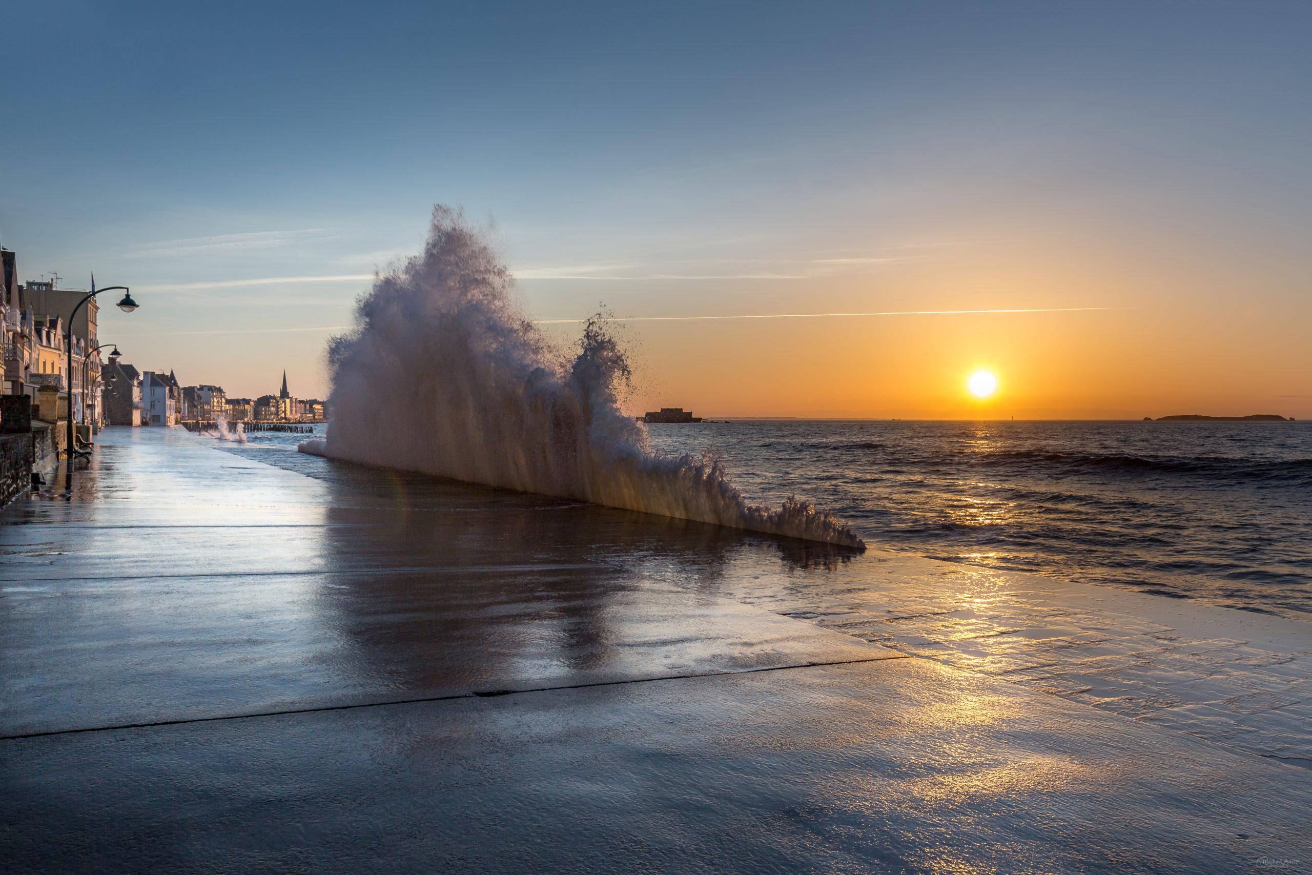 grandes-marees saint-malo sillon sunset