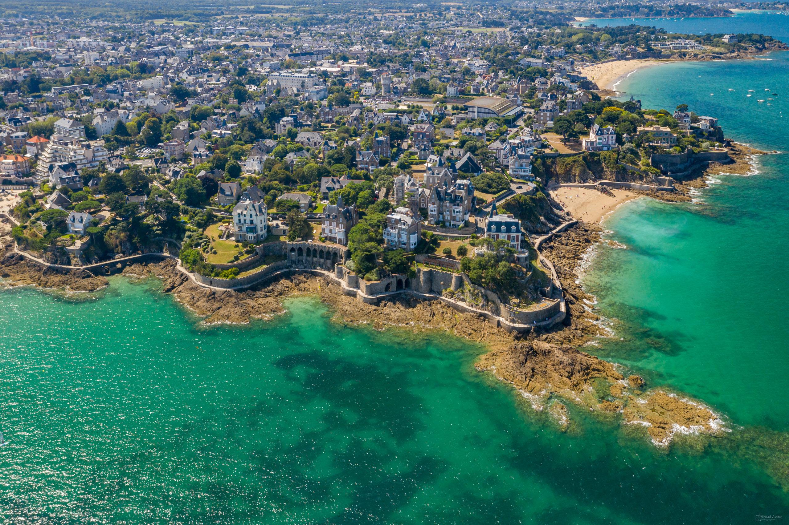 Dinard vue-du-ciel aérienne villa plage cote-émeraude
