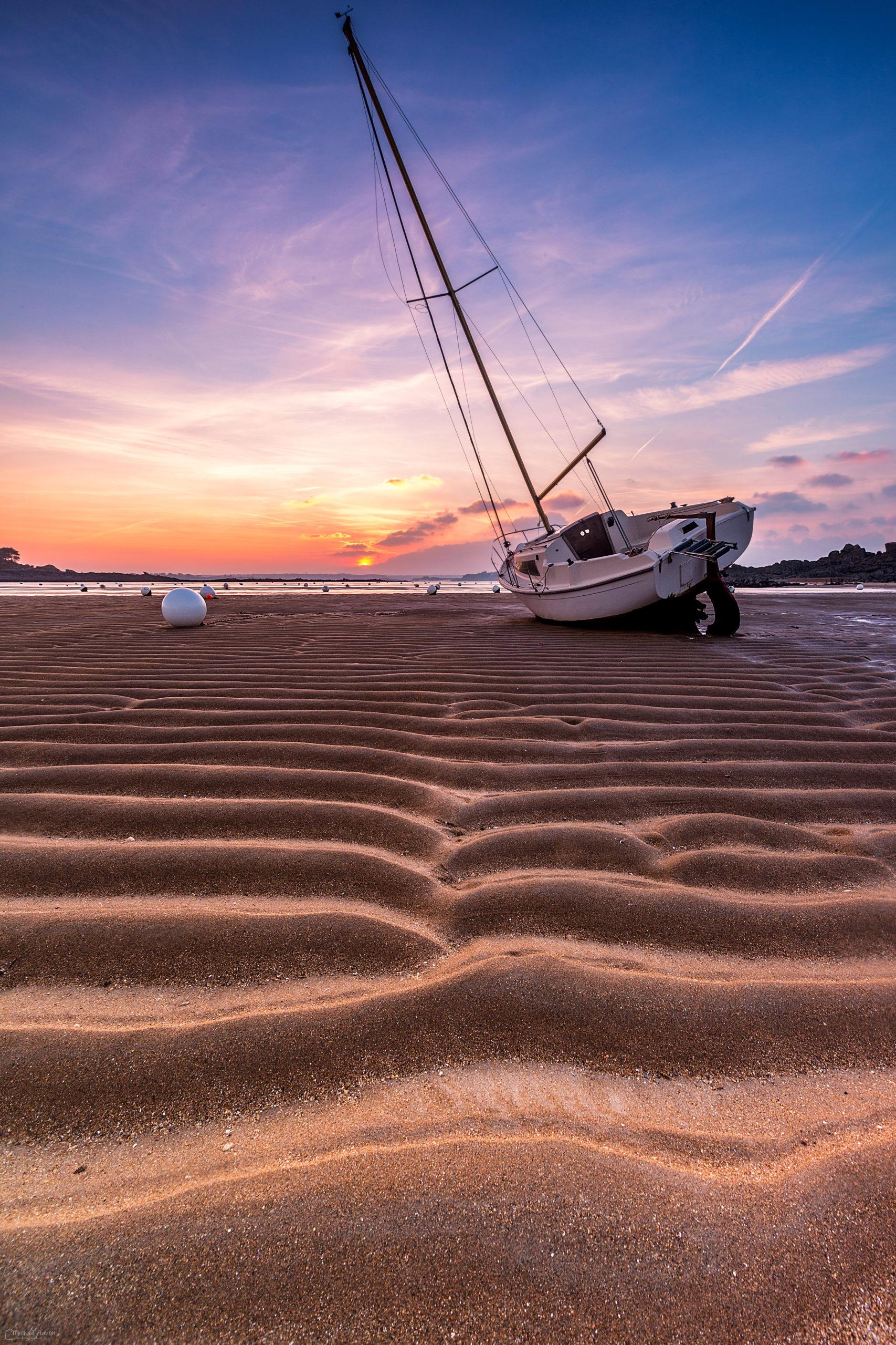 salinette voilier marée couché de soleil